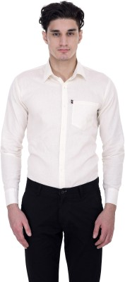 London Looks Men's Solid Formal White Shirt