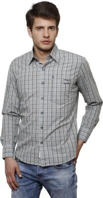 True Tittos Men's Checkered Casual Grey, Brown Shirt