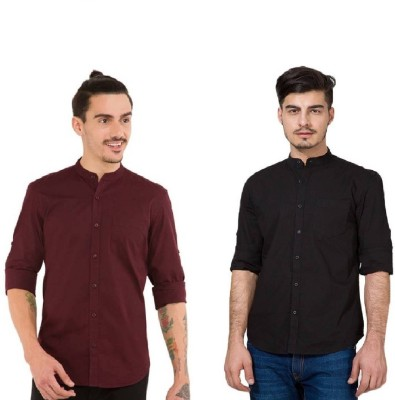 Urbano Fashion Men's Solid Casual Black, Maroon Shirt(Pack of 2)