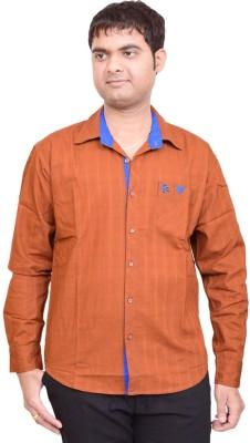 British Terminal Men's Solid Casual Brown Shirt