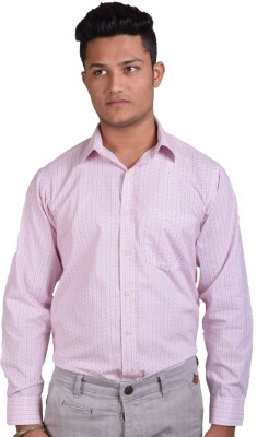 Indian Karma Men Printed Casual Pink Shirt