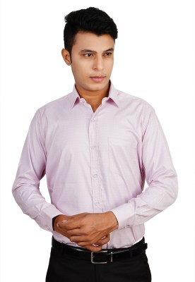 Helg Men's Solid Formal Linen Pink Shirt