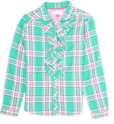 US Polo Kids Girls Checkered Casual Green Shirt  available at flipkart for Rs.600