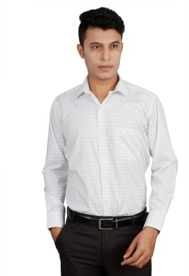 Helg Men's Checkered Formal Linen White Shirt