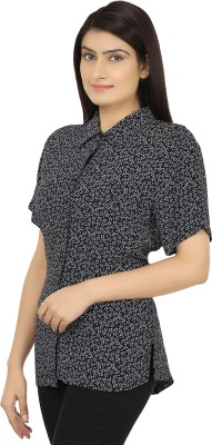 Eves Pret A Porter Women's Printed Casual Black Shirt  available at flipkart for Rs.299