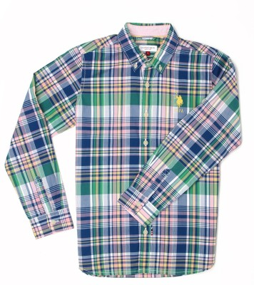 US Polo Kids Boys Checkered Casual Multicolor Shirt  available at flipkart for Rs.649