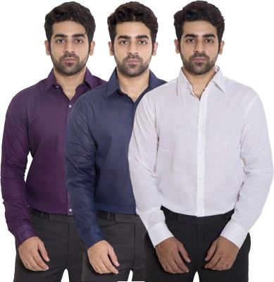 Deekshavastra Men Solid Formal White Shirt Pack of 3