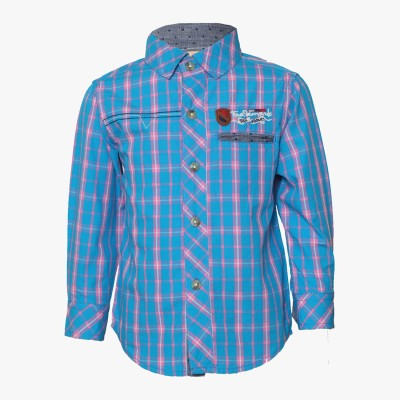 Tales & Stories Baby Boys Checkered Casual Blue Shirt at flipkart