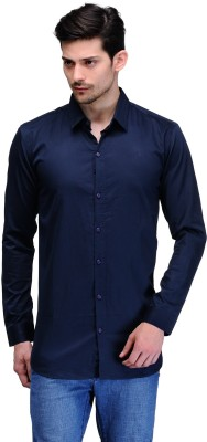 Feed Up Men's Solid Casual Dark Blue Shirt