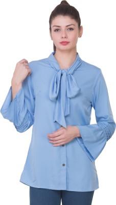 Crosstitch Women Solid Formal Light Blue Shirt Crosstitch Women's Shirts