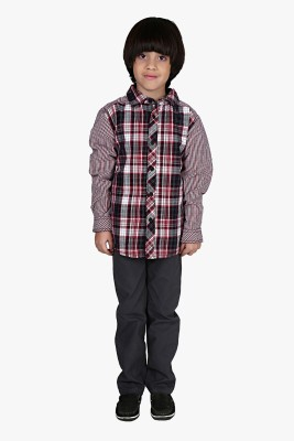 Beebay Baby Boys Checkered Casual Maroon Shirt