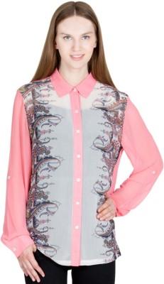Global Elle Casual Full Sleeve Printed Women's Pink Top
