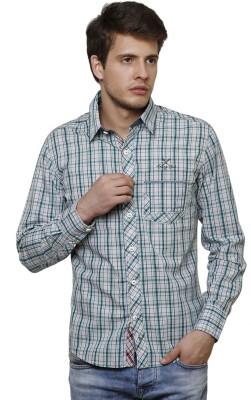 True Tittos Men's Checkered Casual Light Green, Black, White Shirt