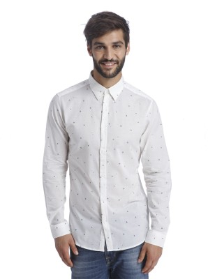 Selected Men Printed Casual White Shirt at flipkart