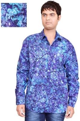 British Terminal Men's Printed Casual Blue Shirt
