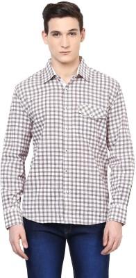 Urbano Fashion Men's Checkered Casual White, Red Shirt
