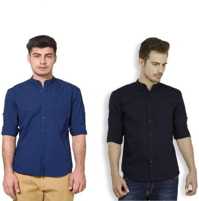 Urbano Fashion Men's Solid Casual Blue, Dark Blue Shirt(Pack of 2)