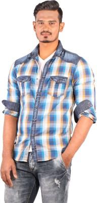 Showoff Men's Checkered Casual Denim Blue Shirt