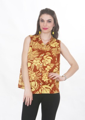 Ten on Ten Women's Printed Casual Brown, Yellow Shirt  available at flipkart for Rs.299