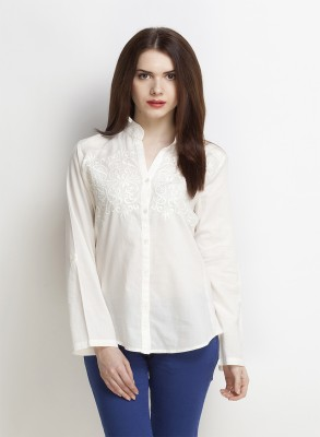 Oxolloxo Women Embroidered Casual White Shirt at flipkart
