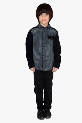 Beebay Baby Boys Striped Casual Black Shirt