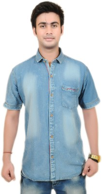 Swiss Culture Men's Solid Casual Semi Spread Collar Shirt