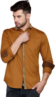 Showoff Men's Self Design Casual Brown Shirt