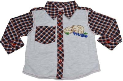Mama & Bebe Boys Embroidered Casual Brown, Grey Shirt