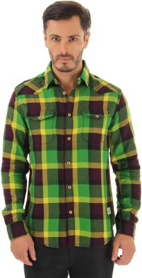 Jack & Jones Men Checkered Casual Green Shirt at flipkart