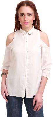 Sassafras Women Solid Casual White Shirt