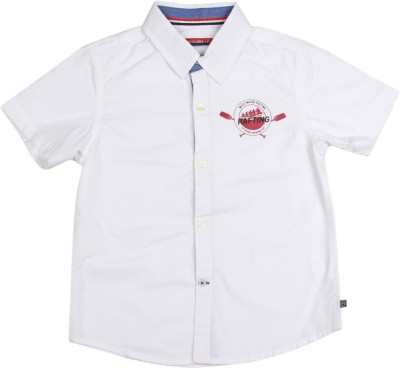 Scullers Kids Boys Solid Casual White Shirt at flipkart