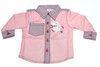 Mama & Bebe Boys Embroidered Casual Pink Shirt