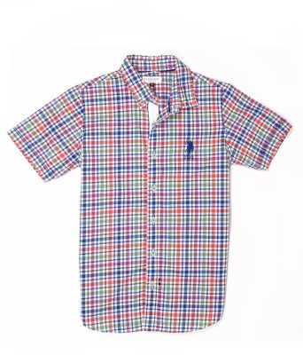 US Polo Kids Boys Checkered Casual Multicolor Shirt  available at flipkart for Rs.599