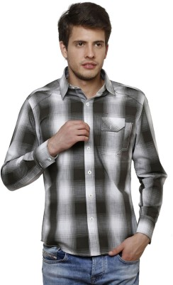 True Tittos Men's Checkered Casual Grey, White Shirt