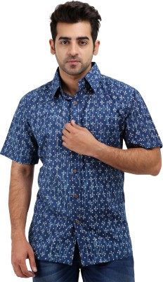 Padmini Negotium Men's Self Design Casual Blue Shirt