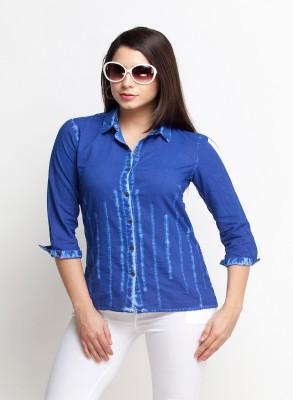 Oxolloxo Women Solid Casual Blue Shirt at flipkart