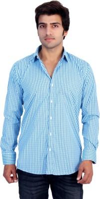 25th R Men's Striped Casual Blue, Dark Blue Shirt