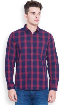 Highlander Men's Checkered Casual Dark Blue, Maroon Shirt