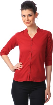 Scorpius Women Solid Formal Maroon Shirt