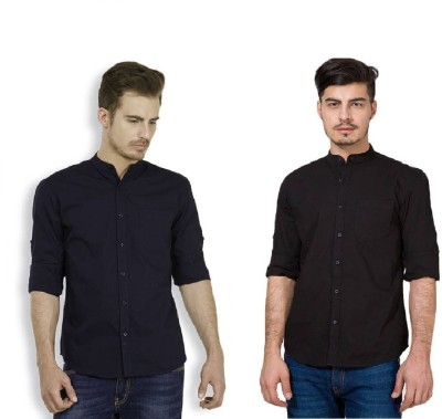 Urbano Fashion Men's Solid Casual Black, Dark Blue Shirt(Pack of 2)