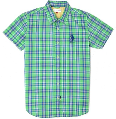 US Polo Kids Boys Checkered Casual Green Shirt  available at flipkart for Rs.649