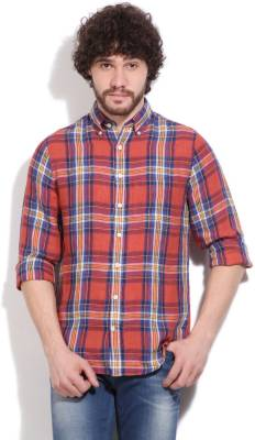 Gant Men's Checkered Casual Linen Blue, Red Shirt