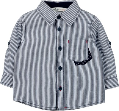Beebay Baby Boys Striped Casual Blue, White Shirt