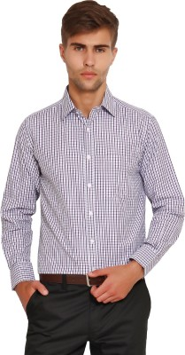 I-Voc Men's Checkered Formal White, Purple, Black Shirt