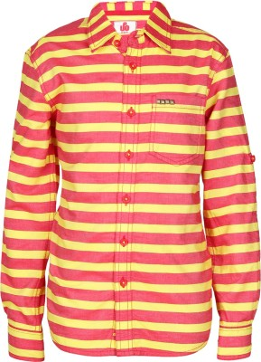 UFO Boys Striped Casual Red, Yellow Shirt at flipkart