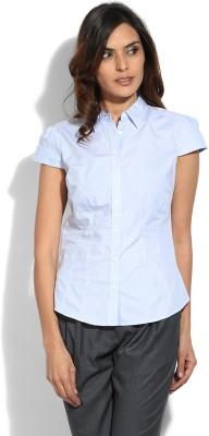 Eves Pret A Porter Women Solid Formal Dark Blue Shirt