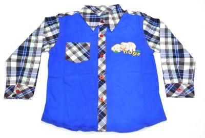 Mama & Bebe Boys Embroidered Casual Blue Shirt