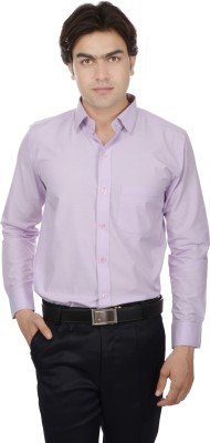 25th R Men's Solid Formal Purple Shirt