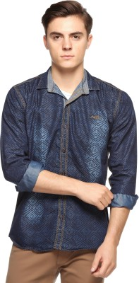 Double Arrow Men's Printed Casual Denim Blue Shirt  available at flipkart for Rs.795