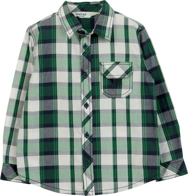 Beebay Baby Boys Checkered Casual Green Shirt